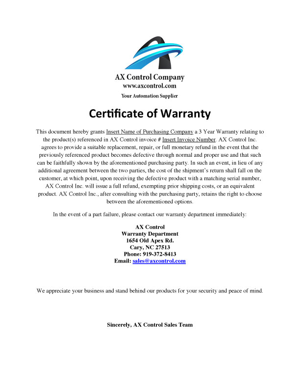 Certificate of Warranty
