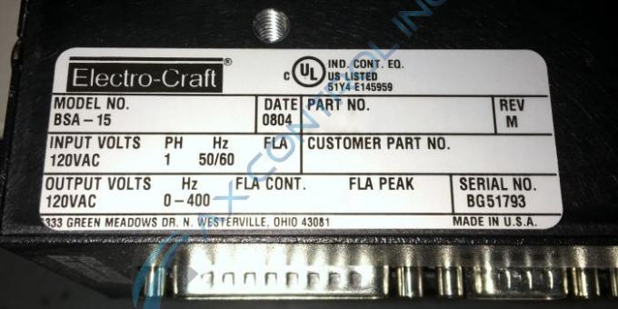 Bsa 15 91060001 in stock reliance electric bsa series for Electro craft servo motor specifications