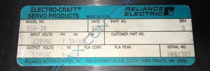 Bsa 30 91060082 in stock reliance electric bsa series for Electro craft servo motor specifications
