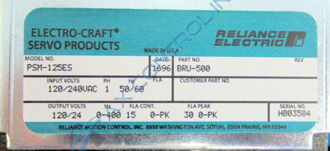 Bru500psm125 rev p in stock reliance electric bru 500 for Electro craft servo motor specifications