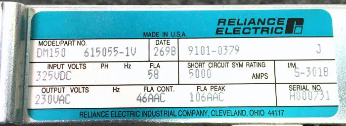 Dm 150 in stock reliance electric bru 500 series for Electro craft servo motor specifications